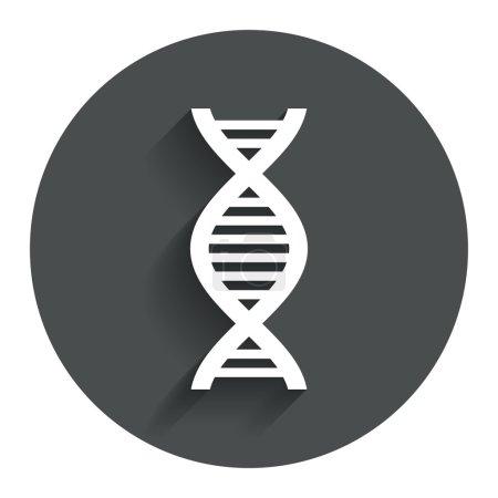 Illustration pour Icône de signe ADN. Symbole d'acide désoxyribonucléique. Cercle bouton plat avec ombre. Navigation moderne sur le site. Vecteur - image libre de droit