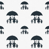 Complete family insurance sign icon Umbrella symbol Seamless grid lines texture Cells repeating pattern White texture background Vector