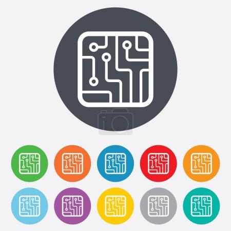Illustration pour Icône de panneau de circuit imprimé. Schéma technologique symbole carré. Rond coloré 11 boutons. Vecteur - image libre de droit