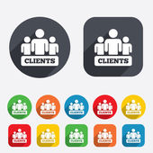 Clients sign icon Group of people symbol Circles and rounded squares 12 buttons Vector