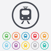 Subway sign icon Train underground symbol Round circle buttons with frame Vector