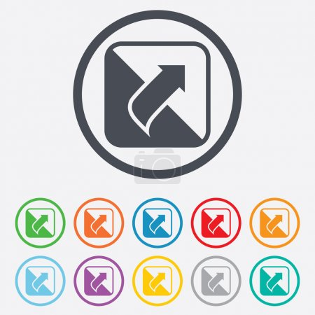 Illustration for Turn page sign icon. Peel back the corner of the sheet symbol. Round circle buttons with frame. Vector - Royalty Free Image