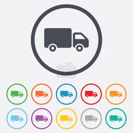 Illustration pour Delivery truck sign icon. Cargo van symbol. Round circle buttons with frame. Vector - image libre de droit