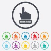 Click here hand sign icon Press button