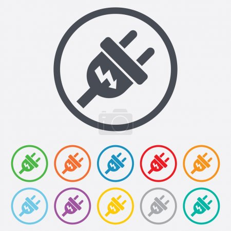 Illustration for Electric plug sign icon. Power energy symbol. Lightning sign. Round circle buttons with frame. Vector - Royalty Free Image