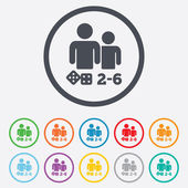 Board games sign icon From two to six players symbol Dice sign Round circle buttons with frame Vector