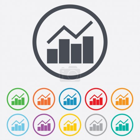 Illustration for Graph chart sign icon. Diagram symbol. Statistics. Round circle buttons with frame. Vector - Royalty Free Image