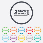 Back to school sign icon Back 2 school pencil symbol Round circle buttons with frame Vector