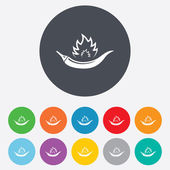Hot chili pepper sign icon Spicy food symbol