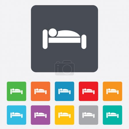 Illustration for Human in bed sign icon. Travel rest place. Sleeper symbol. Rounded squares 11 buttons. Vector - Royalty Free Image