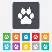 Dog paw with clutches sign icon Pets symbol