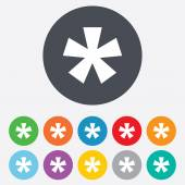 Asterisk footnote sign icon Star note symbol for more information Round colourful 11 buttons Vector
