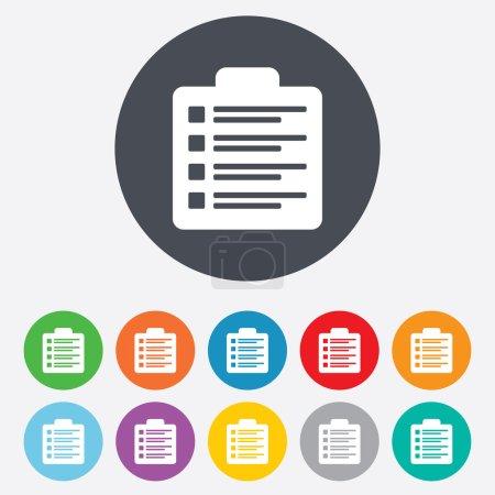 Illustration pour Checklist sign icon. Control list symbol. Survey poll or questionnaire form. Round colourful 11 buttons. Vector - image libre de droit