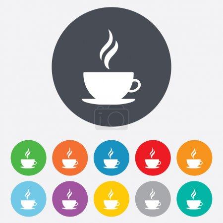 Illustration pour Icône de tasse à café. Café chaud. Boisson de thé chaud à la vapeur. Rond coloré 11 boutons. Vecteur - image libre de droit