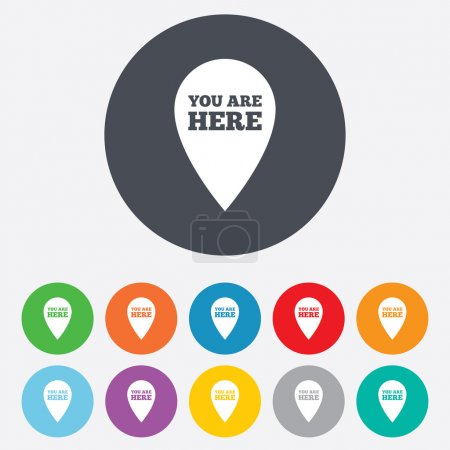 You are here sign icon. Info speech bubble.