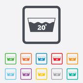 Wash icon Machine washable at 20 degrees symbol