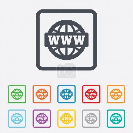 Illustration for WWW sign icon. World wide web symbol. Globe. Round squares buttons with frame. Vector - Royalty Free Image