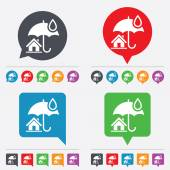 Home insurance sign icon Real estate insurance symbol Speech bubbles information icons 24 colored buttons Vector