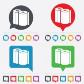 Paper towels sign icon Kitchen roll symbol Speech bubbles information icons 24 colored buttons Vector