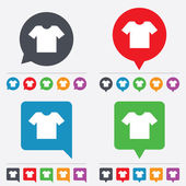 T-shirt sign icon Clothes symbol Speech bubbles information icons 24 colored buttons Vector