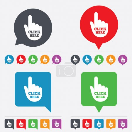Click here hand sign icon. Press button.