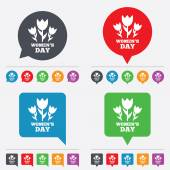 8 March Womens Day sign icon Flowers symbol Speech bubbles information icons 24 colored buttons Vector