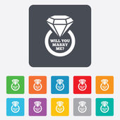 Marry me ring sign icon Engagement symbol