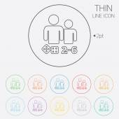 Board games sign icon From two to six players symbol Dice sign Thin line circle web icons with outline Vector
