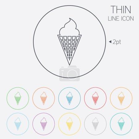 Illustration pour Crème glacée au cône de gaufre icône signe. Doux symbole. Icônes web cercle de ligne mince avec contour. Vecteur - image libre de droit
