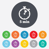 Timer signs icons 5 minutes stopwatch symbols Round colorful  buttons