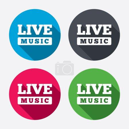 Illustration pour Icône de signe de musique live. Symbole de karaoké. Cercle les boutons avec une ombre longue. Ensemble de 4 icônes. Vecteur - image libre de droit