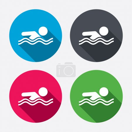 Swimming signs icons