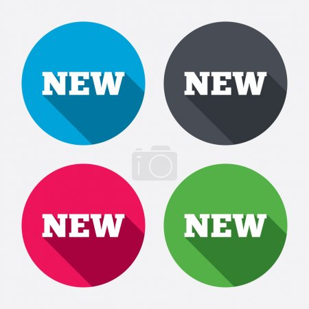 Illustration pour New sign icon. New arrival button symbol. Circle buttons with long shadow. 4 icons set. Vector - image libre de droit