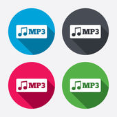 Mp3 music format sign icon Musical symbol Circle buttons with long shadow 4 icons set Vector