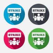 Strike signs icons Group of people symbols