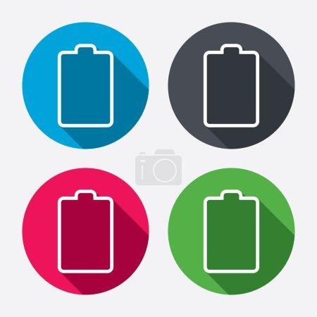 Illustration pour Icône de panneau vide batterie. Symbole de faible électricité. Cercle les boutons avec une ombre longue. Ensemble de 4 icônes. Vecteur - image libre de droit