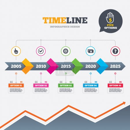 Illustration pour Timeline infographic with arrows. ATM cash machine withdrawal icons. Click here, check PIN number, processing and cash withdrawal symbols. Five options with hand. Growth chart. Vector - image libre de droit