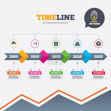 Illustration for Timeline infographic with arrows. Birthday party icons. Cake and gift box signs. Air balloons and fireworks symbol. Five options with hand. Growth chart. Vector - Royalty Free Image
