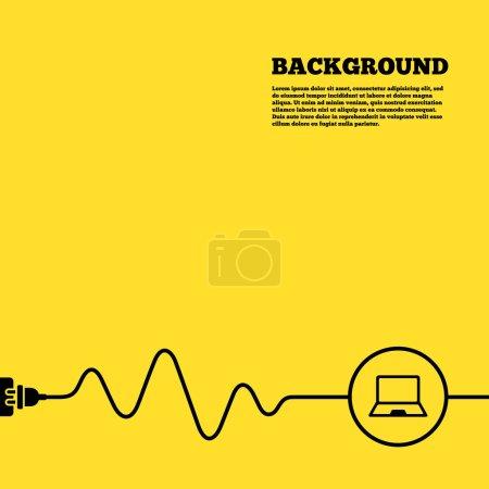 Illustration pour Fond de prise électrique. icône de signe d'ordinateur portable. Notebook pc symbole. Affiche jaune avec signe noir et cordon. Vecteur - image libre de droit