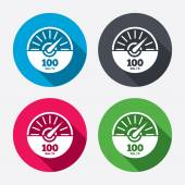 Tachometer sign icon 100 km per hour revolution-counter symbol Car speedometer performance Circle buttons with long shadow 4 icons set Vector