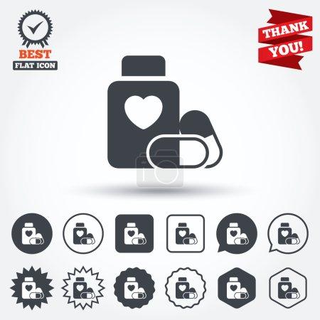 Medical heart pills bottle signs