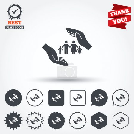 Illustration for Family life insurance sign icon. Hands protect human group symbol. Health insurance. Circle, star, speech bubble and square buttons. Award medal with check mark. Thank you ribbon. Vector - Royalty Free Image