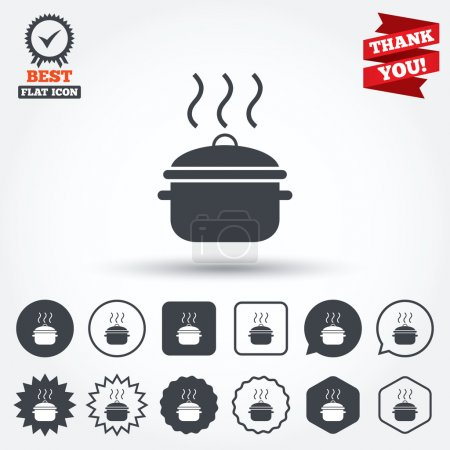 Cooking pan sign icons