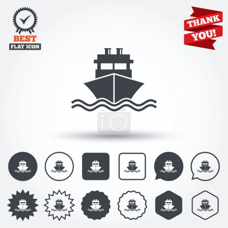 Illustration for Ship or boat sign icon. Shipping delivery symbol. With chimneys or pipes. Circle, star, speech bubble and square buttons. Award medal with check mark. Thank you ribbon. Vector - Royalty Free Image