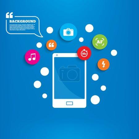 Smartphone with Photo camera icon.