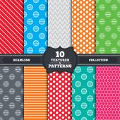 Seamless patterns and textures ISO 9001 and 14001 certified icons Certification star stamps symbols Quality standard signs Endless backgrounds with circles lines and geometric elements Vector