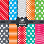 Seamless patterns and textures Sale gift box tag icons Discount special offer symbols 10 percent 20 percent 30 percent and 40  percent discount signs Endless backgrounds with circles lines and geometric elements Vector