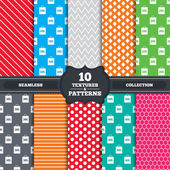 Seamless patterns and textures Sale bag tag icons Discount special offer symbols 10 percent 20 percent 30 percent and 40  percent discount signs Endless backgrounds with circles lines and geometric elements Vector