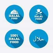 Halal food icons 100 percent natural meal symbols Chef hat with spoon and fork sign Natural muslims food Circle concept web buttons Vector