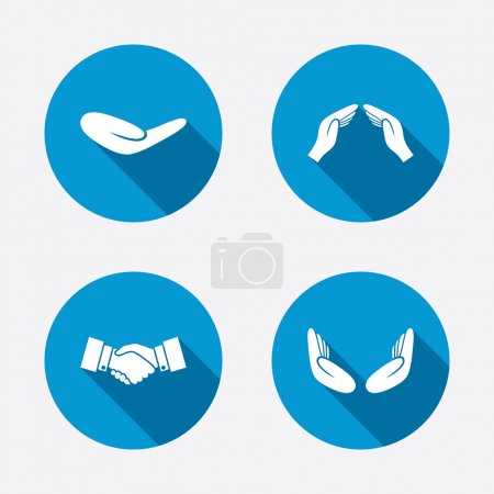 Illustration for Hand icons. Handshake successful business symbol. Insurance protection sign. Human helping donation hand. Prayer meditation hands. Circle concept web buttons. Vector - Royalty Free Image